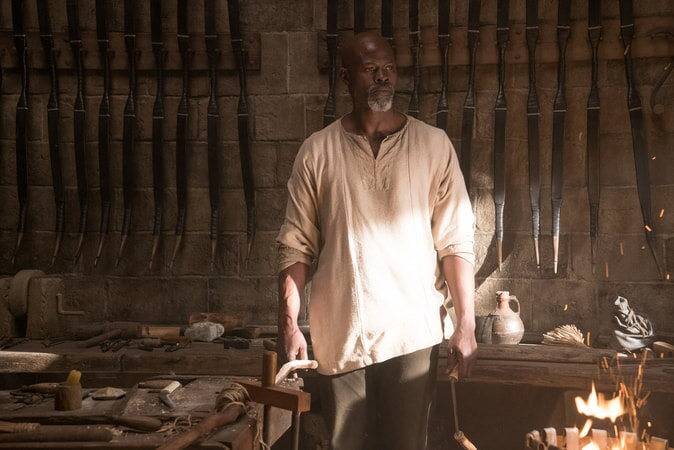 "DJIMON HOUNSOU as Bedivere in Warner Bros. Pictures' and Village Roadshow Pictures' fantasy action adventure ""KING ARTHUR: LEGEND OF THE SWORD,"" distributed worldwide by Warner Bros. Pictures and in select territories by Village Roadshow Pictures."