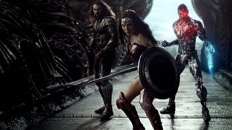 Jason Momoa as Aquaman, Gal Gadot as Wonder Woman and Ray Fisher as Cyborg