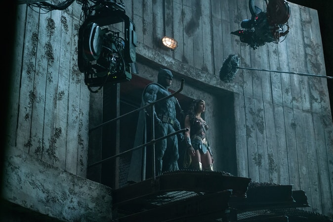 """BEN AFFLECK and GAL GADOT on the set of Warner Bros. Pictures' action adventure """"JUSTICE LEAGUE,"""" a Warner Bros. Pictures release."""