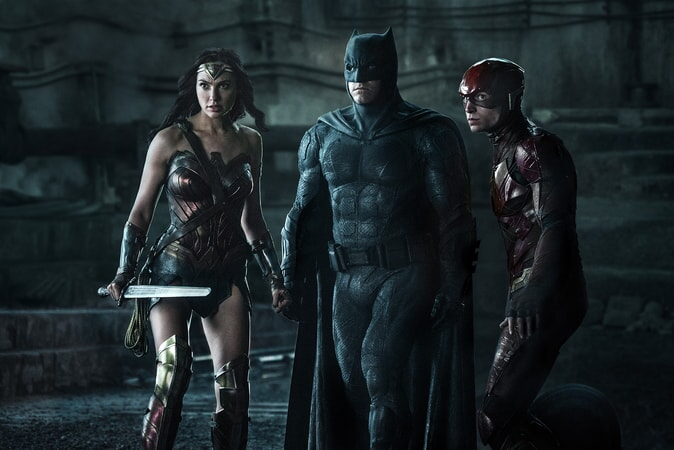 """GAL GADOT as Wonder Woman, BEN AFFLECK as Batman and EZRA MILLER as The Flash in Warner Bros. Pictures' action adventure """"JUSTICE LEAGUE,"""" a Warner Bros. Pictures release."""