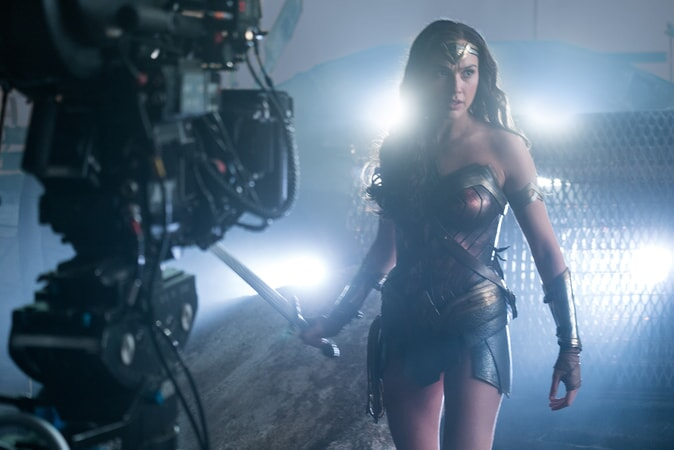 """GAL GADOT on the set of Warner Bros. Pictures' action adventure """"JUSTICE LEAGUE,"""" a Warner Bros. Pictures release."""