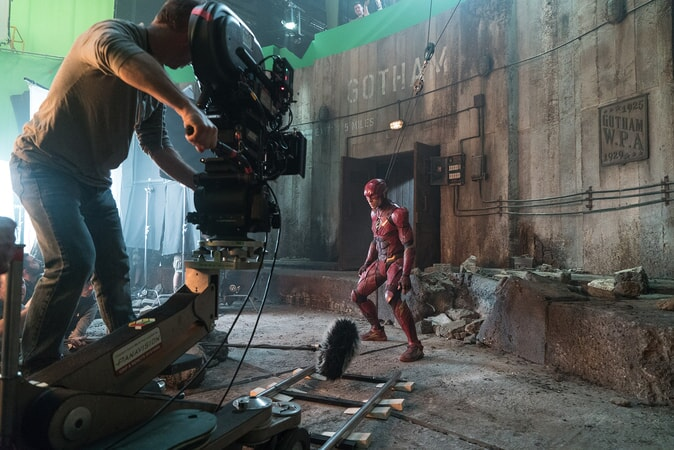 """EZRA MILLER on the set of Warner Bros. Pictures' action adventure """"JUSTICE LEAGUE,"""" a Warner Bros. Pictures release."""