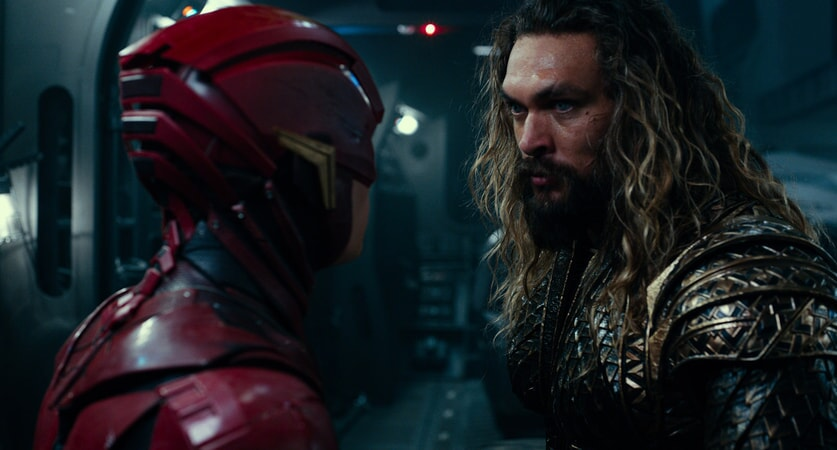 """EZRA MILLER as The Flash and JASON MOMOA as Aquaman in Warner Bros. Pictures' action adventure """"JUSTICE LEAGUE,"""" a Warner Bros. Pictures release."""