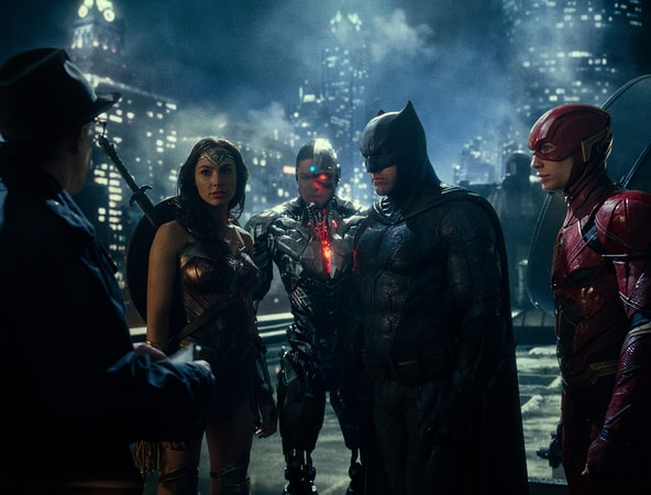 """J.K. SIMMONS as Commissioner Gordon, GAL GADOT as Wonder Woman, RAY FISHER as Cyborg, BEN AFFLECK as Batman and EZRA MILLER as The Flash in Warner Bros. Pictures' action adventure """"JUSTICE LEAGUE,"""" a Warner Bros. Pictures release."""