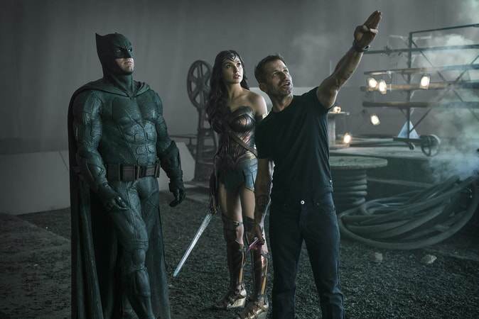 "BEN AFFLECK, GAL GADOT and director ZACK SNYDER on the set of Warner Bros. Pictures' action adventure ""JUSTICE LEAGUE,"" a Warner Bros. Pictures release."