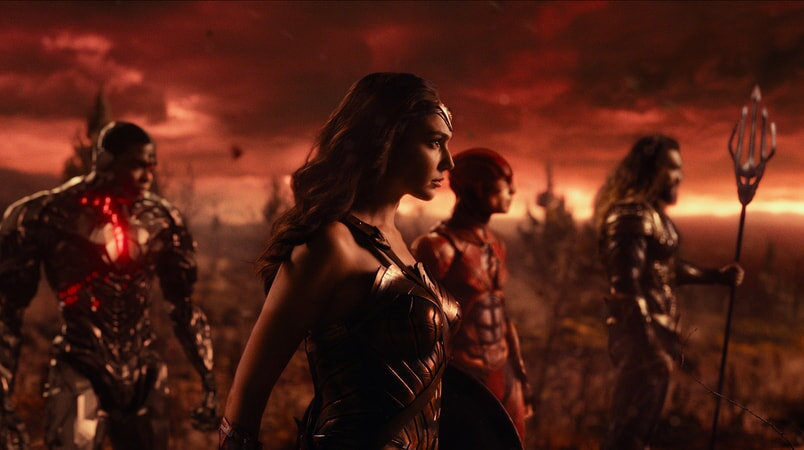 """RAY FISHER as Cyborg, GAL GADOT as Wonder Woman, EZRA MILLER as The Flash and JASON MOMOA as Aquaman in Warner Bros. Pictures' action adventure """"JUSTICE LEAGUE,"""" a Warner Bros. Pictures release."""