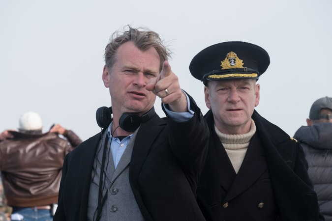 """Director/writer/producer CHRISTOPHER NOLAN and KENNETH BRANAGH on the set of the Warner Bros. Pictures action thriller """"DUNKIRK,"""" a Warner Bros. Pictures release."""
