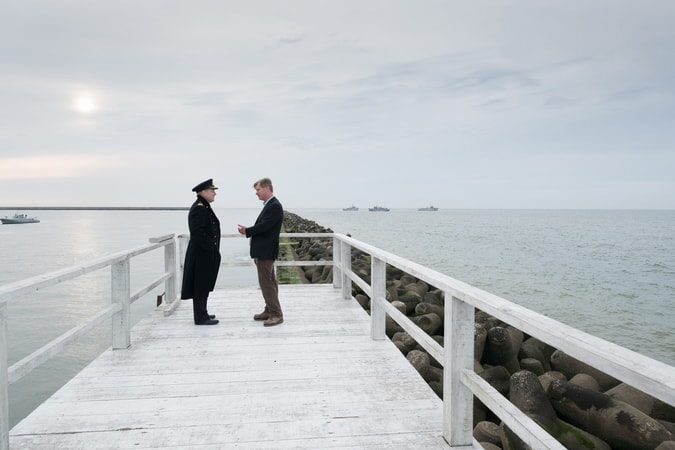 """KENNETH BRANAGH and director/writer/producer CHRISTOPHER NOLAN on the set of the Warner Bros. Pictures action thriller """"DUNKIRK,"""" a Warner Bros. Pictures release."""