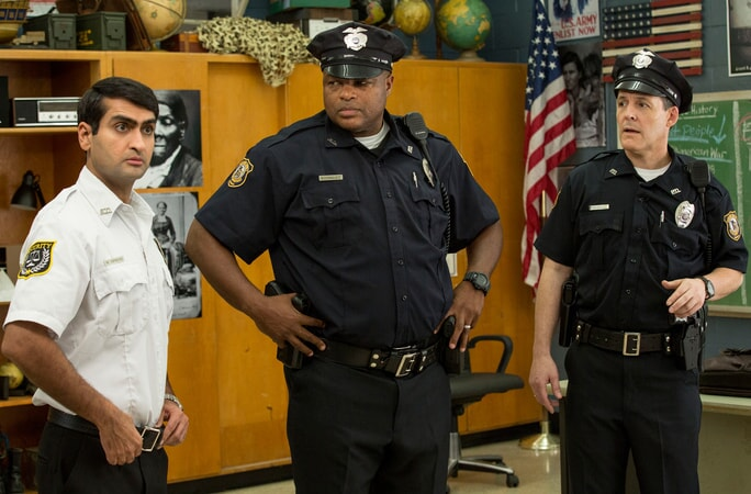 "KUMAIL NANJIANI as Mehar, MICHAEL BEASLEY as Officer Rodriguez and ROBERT PRALGO as Officer Kheel in the New Line Cinema and Village Roadshow Pictures comedy ""FIST FIGHT,"" a Warner Bros. Pictures release."