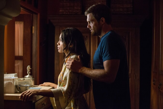 """ROSARIO DAWSON as Julia Banks and GEOFF STULTS as David Connover in Warner Bros. Pictures' dramatic thriller """"UNFORGETTABLE,"""" a Warner Bros. Pictures release."""