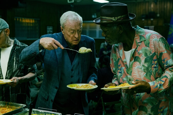 "MICHAEL CAINE as Joe Harding and MORGAN FREEMAN as Willie Davis in the New Line Cinema and Village Roadshow comedy ""GOING IN STYLE,"" a Warner Bros. Pictures release."