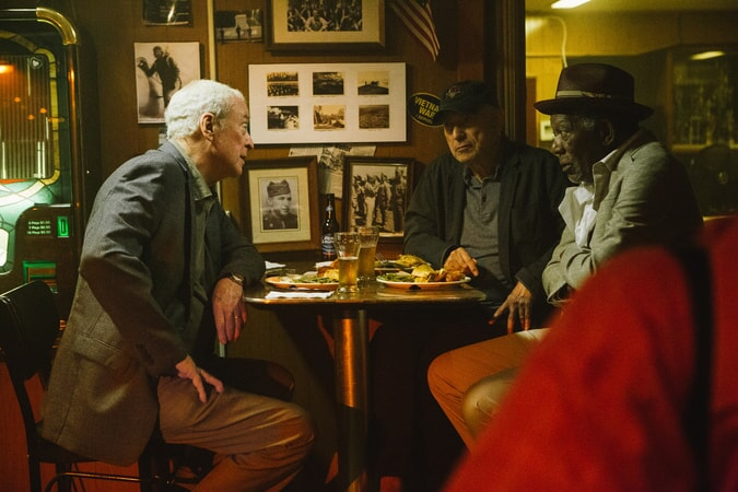 "MICHAEL CAINE as Joe Harding, ALAN ARKIN as Albert Garner and MORGAN FREEMAN as Willie Davis in the New Line Cinema and Village Roadshow comedy ""GOING IN STYLE,"" a Warner Bros. Pictures release."