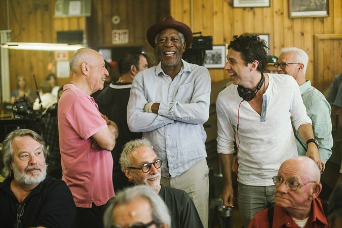 "ALAN ARKIN, MORGAN FREEMAN and director ZACH BRAFF on the set of the New Line Cinema and Village Roadshow comedy ""GOING IN STYLE,"" a Warner Bros. Pictures release."