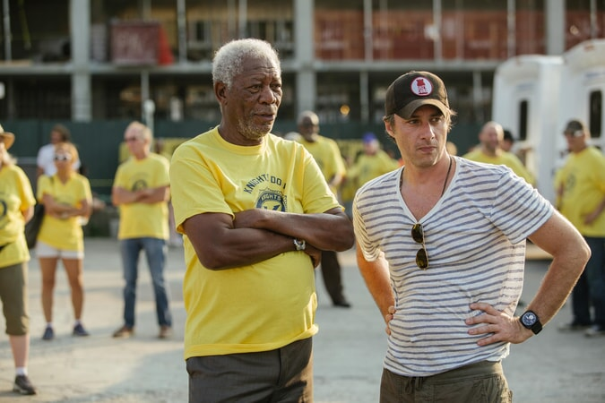 "MORGAN FREEMAN and director ZACH BRAFF on the set of the New Line Cinema and Village Roadshow comedy ""GOING IN STYLE,"" a Warner Bros. Pictures release."