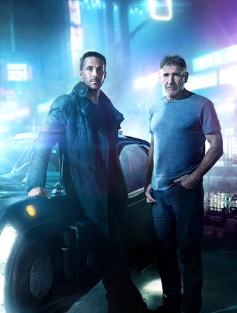 "RYAN GOSLING as K and HARRISON FORD as Rick Deckard in Alcon Entertainment's ""BLADE RUNNER 2049,"" a Warner Bros. Pictures and Sony Pictures Entertainment release, domestic distribution by Warner Bros. Pictures and international distribution by Sony Pictures."