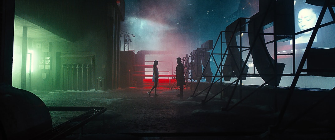 "ANA DE ARMAS as Joi and RYAN GOSLING as K in Alcon Entertainment's action thriller ""BLADE RUNNER 2049,"" a Warner Bros. Pictures and Sony Pictures Entertainment release, domestic distribution by Warner Bros. Pictures and international distribution by Sony Pictures."