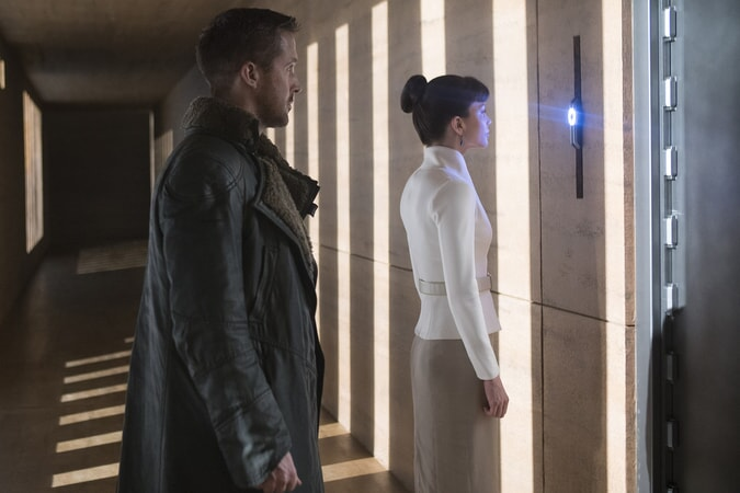 "RYAN GOSLING as K and SYLVIA HOEKS as Luv in Alcon Entertainment's action thriller ""BLADE RUNNER 2049,"" a Warner Bros. Pictures and Sony Pictures Entertainment release, domestic distribution by Warner Bros. Pictures and international distribution by Sony Pictures."
