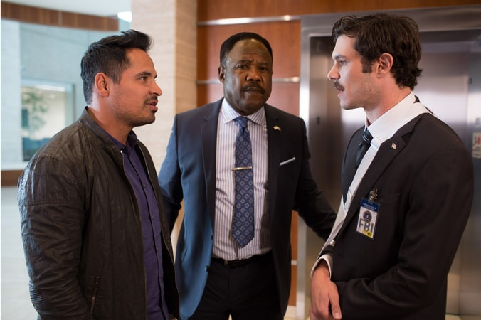 """MICHAEL PEÑA as Ponch, ISIAH WHITLOCK JR. as Peterson and ADAM BRODY as Clay Allen in Warner Bros. Pictures' action comedy """"CHIPS,"""" a Warner Bros. Pictures release."""