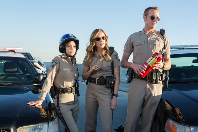 """ROSA SALAZAR as Ava Perez, JESSICA McNAMEE as Lindsey Taylor and JESS ROWLAND as Rathbun in Warner Bros. Pictures' action comedy """"CHIPS,"""" a Warner Bros. Pictures release."""