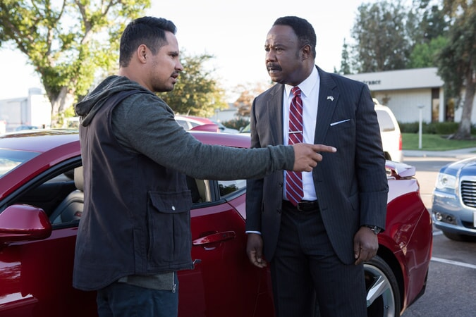 """MICHAEL PEÑA as Ponch and ISIAH WHITLOCK JR. as Peterson in Warner Bros. Pictures' action comedy """"CHIPS,"""" a Warner Bros. Pictures release."""