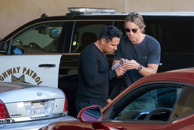 """MICHAEL PEÑA as Ponch and DAX SHEPARD as Jon in Warner Bros. Pictures' action comedy """"CHiPS,"""" a Warner Bros. Pictures release."""