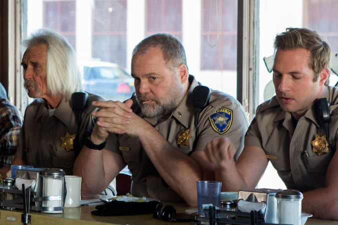 """VINCENT D'ONOFRIO as Ray Kurtz and RYAN HANSEN as Brian Grieves in Warner Bros. Pictures' action comedy """"CHIPS,"""" a Warner Bros. Pictures release."""