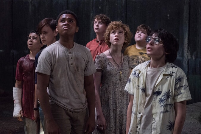 "JACK GRAZER as Eddie Kaspbrak, JAEDEN LIEBERHER as Bill Denbrough, CHOSEN JACOBS as Mike Hanlon, WYATT OLEFF as Stanley Uris, SOPHIA LILLIS as Beverly Marsh, JEREMY RAY TAYLOR as Ben Hascomb and FINN WOLFHARD as Richie Tozier in New Line Cinema's horror thriller ""IT,"" a Warner Bros. Pictures release."