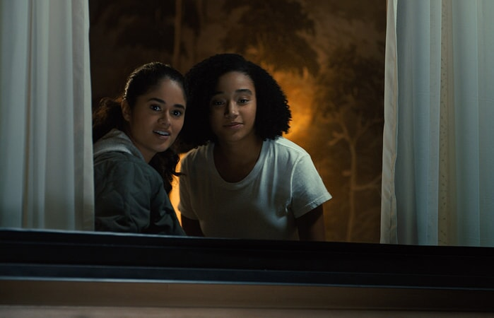 """DANUBE R. HERMOSILLO as Rosa and AMANDLA STENBERG as Maddy in the Warner Bros. Pictures and Metro-Goldwyn-Mayer Pictures romantic drama """"EVERYTHING, EVERYTHING,"""" a Warner Bros. Pictures release."""