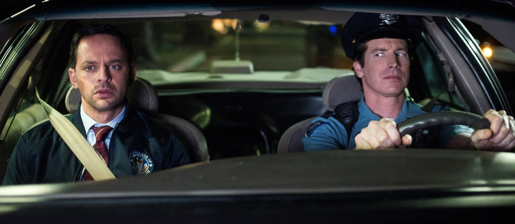 """NICK KROLL as Bob and ROB HUEBEL as Officer Chandler in the New Line Cinema and Village Roadshow Pictures comedy """"THE HOUSE,"""" a Warner Bros. Pictures release."""