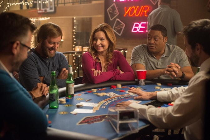 """RORY SCOVEL as Joe, LENNON PARHAM as Martha and CEDRIC YARBROUGH as Reggie in the New Line Cinema and Village Roadshow Pictures comedy """"THE HOUSE,"""" a Warner Bros. Pictures release."""