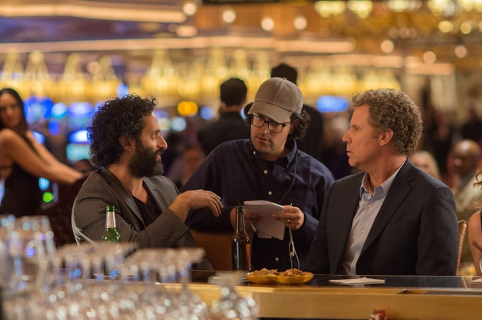 """ASON MANTZOUKAS, director/writer/producer ANDREW JAY COHEN and WILL FERRELL on the set of the New Line Cinema and Village Roadshow Pictures comedy """"THE HOUSE,"""" a Warner Bros. Pictures release."""
