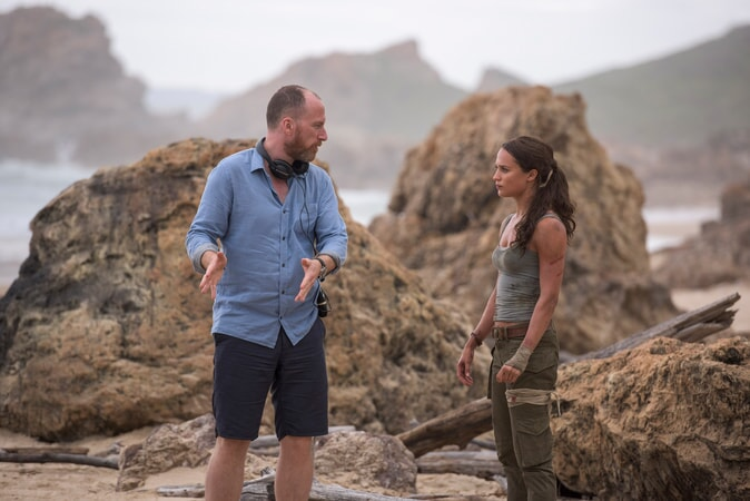 """(L-R) Director ROAR UTHAUG and ALICIA VIKANDER on the set of Warner Bros. Pictures' and Metro-Goldwyn-Mayer Pictures' action adventure """"TOMB RAIDER,"""" a Warner Bros. Pictures release."""