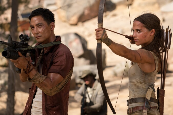 """(L-R) DANIEL WU as Lu Ren and ALICIA VIKANDER as Lara Croft in Warner Bros. Pictures' and Metro-Goldwyn-Mayer Pictures' action adventure """"TOMB RAIDER,"""" a Warner Bros. Pictures release."""