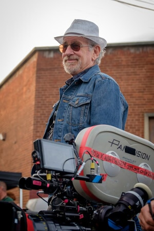 """Director/producer STEVEN SPIELBERG on the set of Warner Bros. Pictures', Amblin Entertainment's and Village Roadshow Pictures' action adventure """"READY PLAYER ONE,"""" a Warner Bros. Pictures release."""