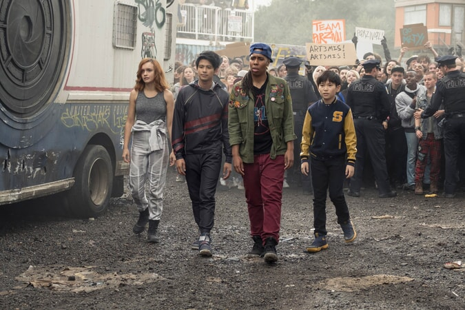 """(L-R) OLIVIA COOKE as Samantha, WIN MORISAKI as Daito, LENA WAITHE as Helen and Sho voiced by PHILIP ZHAO in Warner Bros. Pictures', Amblin Entertainment's and Village Roadshow Pictures' action adventure """"READY PLAYER ONE,"""" a Warner Bros. Pictures release."""