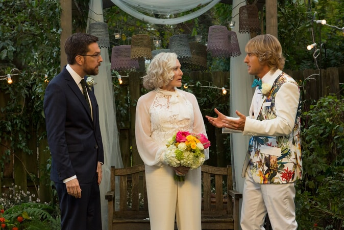 "ED HELMS as Peter Reynolds, GLENN CLOSE as Helen and OWEN WILSON as Kyle Reynolds in Alcon Entertainment's comedy ""FATHER FIGURES,"" a Warner Bros."