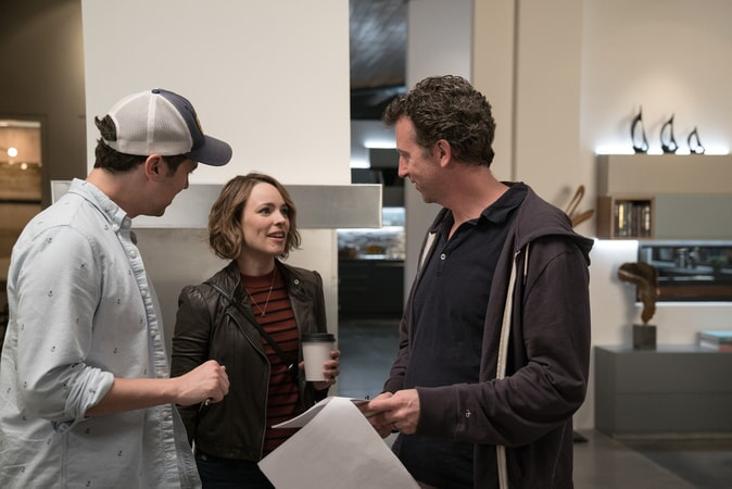 "(L-R) Director JOHN FRANCIS DALEY, RACHEL McADAMS and director JONATHAN GOLDSTEIN on the set of New Line Cinema's action comedy ""GAME NIGHT,"" a Warner Bros. Pictures release."