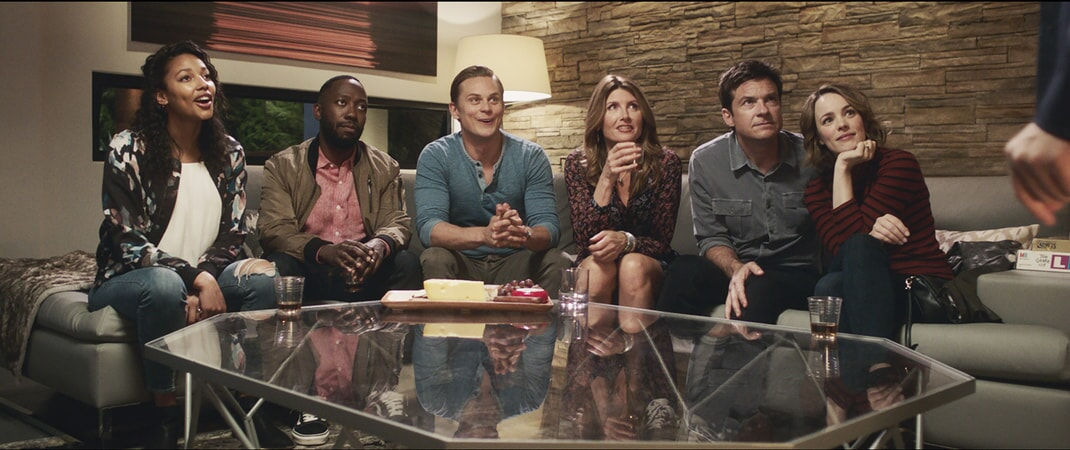 "KYLIE BUNBURY as Michelle, LAMORNE MORRIS as Kevin, BILLY MAGNUSSEN as Ryan, SHARON HORGAN as Sarah, JASON BATEMAN as Max and RACHEL McADAMS as Annie in New Line Cinema's action comedy ""GAME NIGHT,"" a Warner Bros. Pictures release."