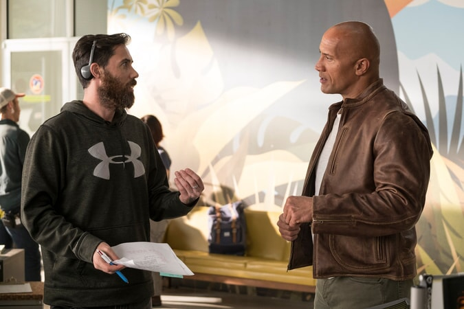 "(L-R) Director/producer BRAD PEYTON and DWAYNE JOHNSON on the set of New Line Cinema's and ASAP Entertainment's action adventure ""RAMPAGE,"" a Warner Bros. Pictures release."
