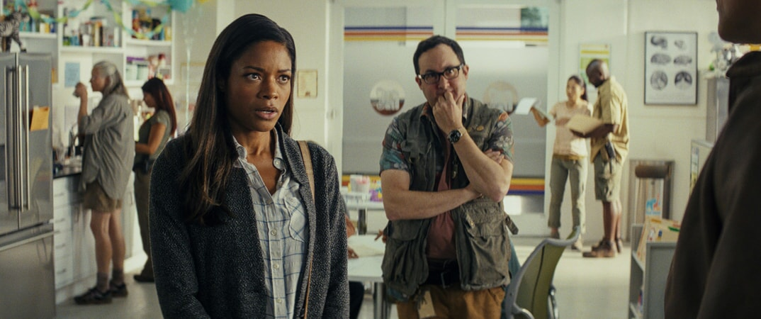 "(L-R) NAOMIE HARRIS as Dr. Kate Caldwell and P.J. BYRNE as Nelson in New Line Cinema's and ASAP Entertainment's action adventure ""RAMPAGE,"" a Warner Bros. Pictures release."