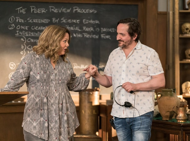 "(L-R) Actress/writer/producer MELISSA McCARTHY and director/writer/producer BEN FALCONE on the set of New Line Cinema's comedy ""LIFE OF THE PARTY,"" a Warner Bros. Pictures' release."