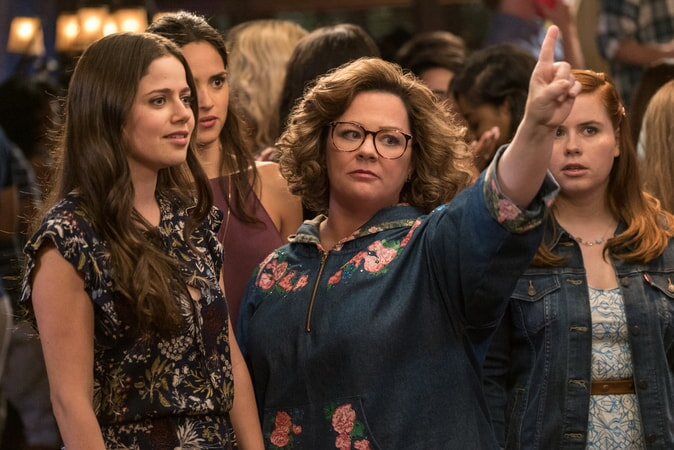 "(L-R) MOLLY GORDON as Maddie, ADRIA ARJONA as Amanda, MELISSA McCARTHY as Deanna and JESSIE ENNIS as Debbie in New Line Cinema's comedy ""LIFE OF THE PARTY,"" a Warner Bros. Pictures' release."