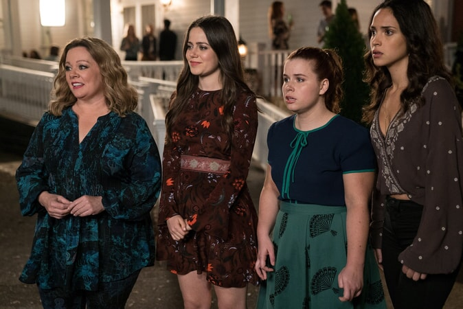 "MELISSA McCARTHY as Deanna, MOLLY GORDON as Maddie, JESSIE ENNIS as Debbie and ADRIA ARJONA as Amanda in New Line Cinema's comedy ""LIFE OF THE PARTY,"" a Warner Bros. Pictures' release."