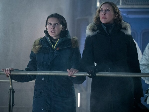 L-R) MILLIE BOBBY BROWN as Madison Russell and VERA FARMIGA as Dr. Emma Russell