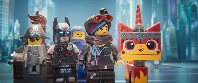 (L-R) MetalBeard (NICK OFFERMAN), Batman (WILL ARNETT), Benny (CHARLIE DAY), Lucy/Wyldstyle (ELIZABETH BANKS) and Ultrakatty (ALISON BRIE)
