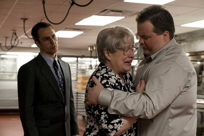 """SAM ROCKWELL as Watson Bryant, KATHY BATES as Bobi Jewell and PAUL WALTER HAUSER as Richard Jewell in Warner Bros. Pictures' """"RICHARD JEWELL,"""" a Warner Bros. Pictures release."""