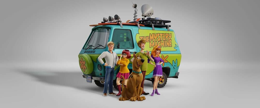 """(L-r) Fred voiced by ZAC EFRON, Velma voiced by GINA RODRIGUEZ, Scooby-Doo voiced by FRANK WELKER, Shaggy voiced by WILL FORTE and Daphne voiced by AMANDA SEYFRIED in the new animated adventure """"SCOOB!"""""""