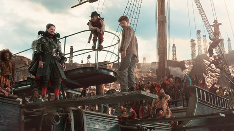 "HUGH JACKMAN as Blackbeard, BRONSON WEBB as Steps and LEVI MILLER as Peter in Warner Bros. Pictures' and RatPac-Dune Entertainment's action adventure ""PAN,"" a Warner Bros. Pictures release."