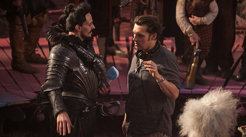 "HUGH JACKMAN and director JOE WRIGHT on the set of Warner Bros. Pictures' and RatPac-Dune Entertainment's action adventure ""PAN,"" a Warner Bros. Pictures release."