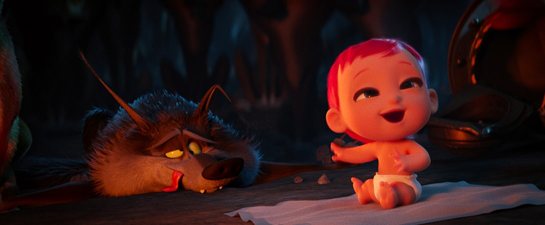 Alpha Wolf voiced by KEEGAN-MICHAEL KEY with the baby